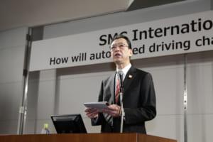 「自動運転ビジョン」について説明する池自工会会長