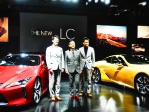 レクサス LC,左から、佐藤恒治チーフエンジニア、福市得雄プレジデント、森忠雄PCD